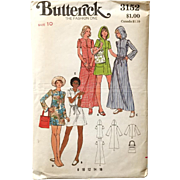 Vintage 1970s Hoody Beach Coverup Sewing Pattern Butterick 3152