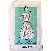 Vintage 1950s Anne Adams Fit and Flare Sweetheart Neckline Bias Cut Skirt Dress Pattern 4553