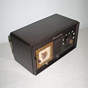 Vintage MCM Dark Brown Bakelite Coronado Alarm Clock Radio Model No 25RA38-43-8238A