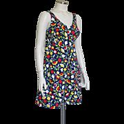 Vintage 1960s Carol Brent Summer Cotton Romper Dress Deep V Front Square Back Neckline S