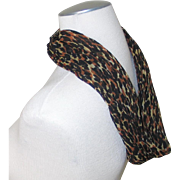 Authentic Vintage 1960s Leopard Print Cowl Circle Scarf VLV