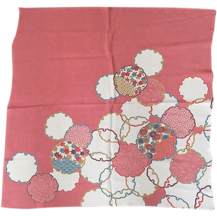 Vintage 1970s Japanese Oriental Crepe Scarf Pink White Blue Gold Abstract Floral Print