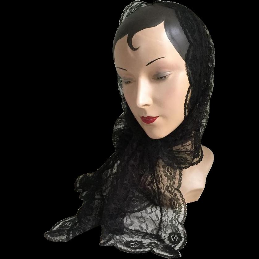 Vintage 1960s Black Lace Scarf Mantilla