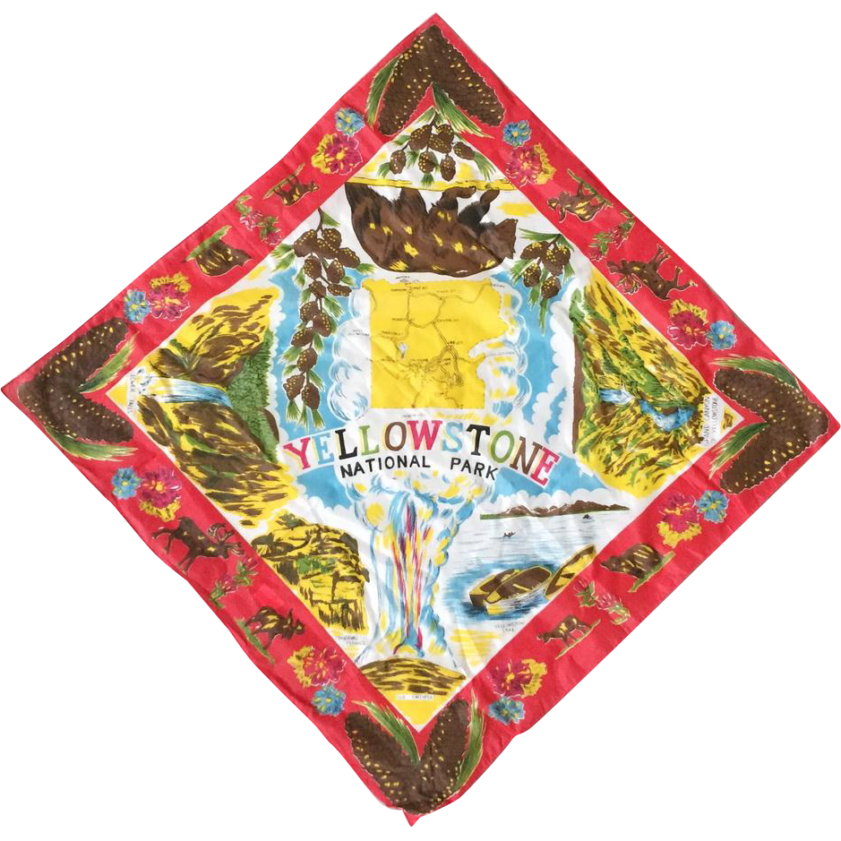 Vintage 1970s Yellowstone National Park Colorful Souvenir Scarf