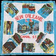 Vintage 1960s New Orleans Souvenir Scarf
