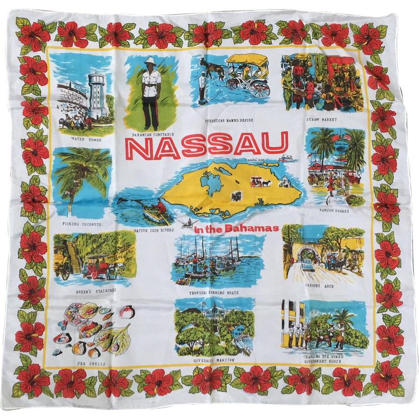 Vintage 1960s Souvenir Scarf NASSAU in the Bahamas Red Turquoise Gold Green on White