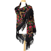 Enormous Vintage 1993 Fringed Black Scarf Shawl With Bright Floral Print with Exotic Arches NWT