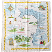 Vintage 1960s Norfolk Suffolk Cambridgeshire Souvenir Travel Scarf
