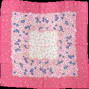 Vintage 1960s Pink Blue Floral Print Scarf Neckscarf