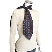 Vintage 1970s Christian Dior Silk Pussy Bow Neck Tie Scarf Espresso Brown Foulard Print