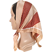 Vintage 1960s Geometric Stripes Foulard Rust Tan White Scarf