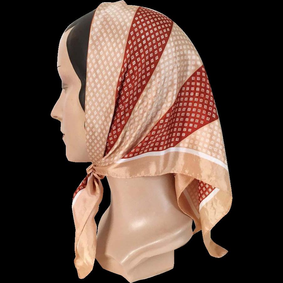 Vintage 1960s Geometric Stripes Foulard Rust Tan White Scarf
