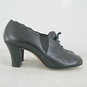 Vintage 1930s Vintage Black Faux Lace Up Oxford Shoes