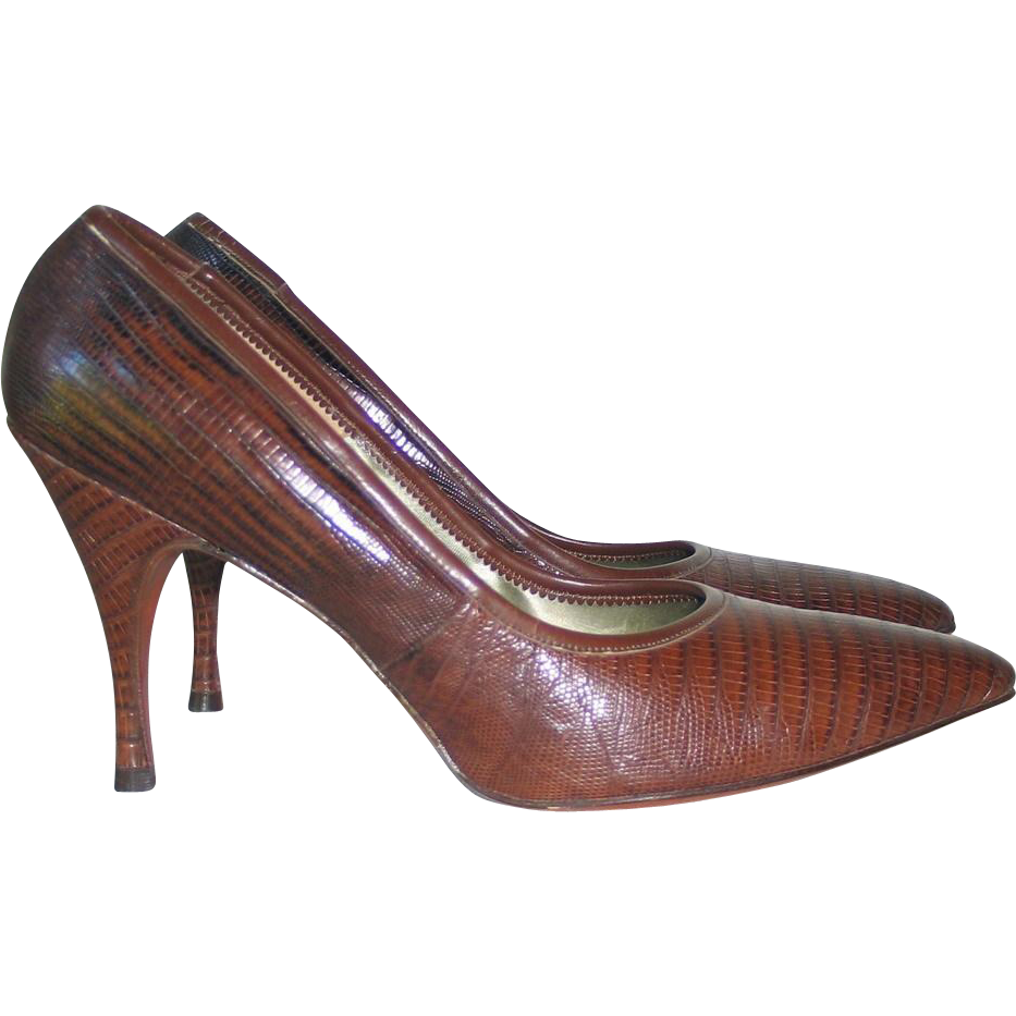 Vintage 1960s Palizzio Brown Embossed Reptile Leather Stiletto Heels Shoes 8B