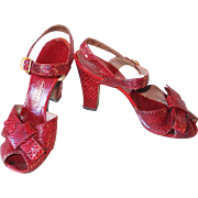 Vintage 1940s Crimson Red Reptile Peep Toe High Heel Shoes - Red Tag Sale Item