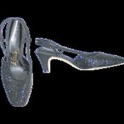 Vintage 1960s Black Glitter Square Toe Shoes de Italia 7.5 M