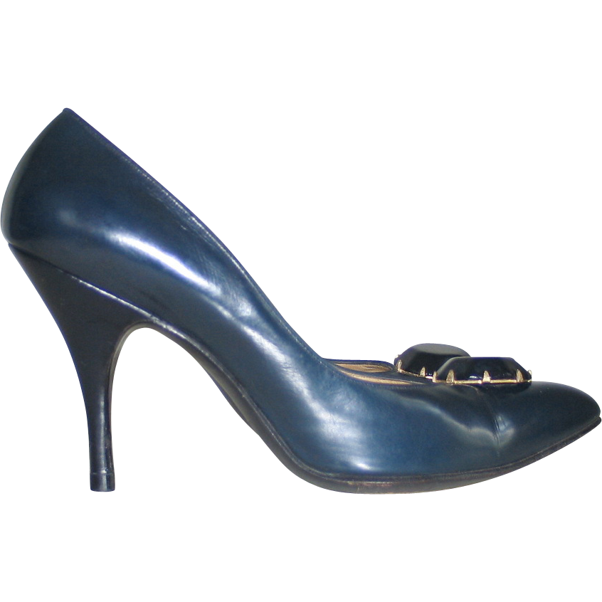 Vintage 1960s Midnight Blue and Black Stiletto Heels 7AA