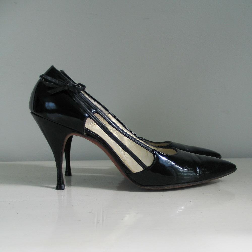 Vintage 1960s Shiny Black Patent Stilettos High Heels from ...