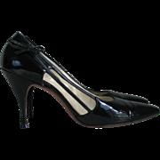 Vintage 1960s Shiny Black Patent Stilettos High Heels