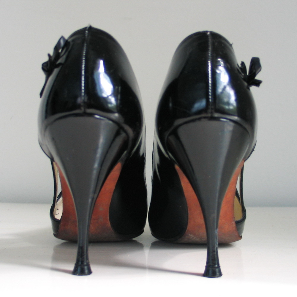 Vintage 1960s Shiny Black Patent Stilettos High Heels ...