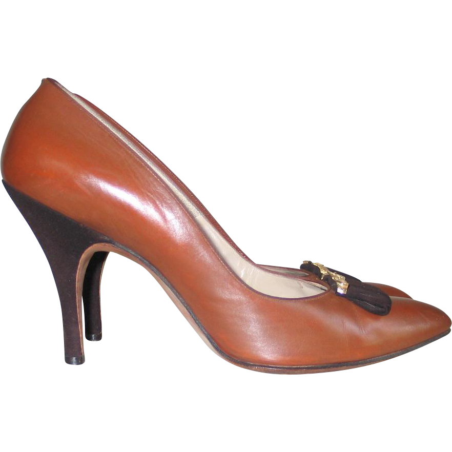 Vintage 1960s Chestnut Brown Newbold's Cincinnati Leather Heels with Suede Trim and Gold Buckle