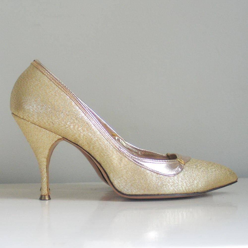 Vintage 1960s Shiny Gold Lame Stiletto High Heels Shoes Cocktail ...
