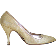 Vintage 1960s Shiny Gold Lame Stiletto High Heels Shoes Cocktail Party