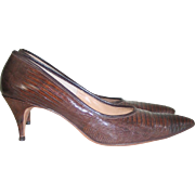Vintage 1960s Brown Reptile Leather Stiletto Shoes High Heels Troyling