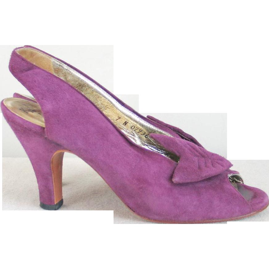 1970s Vintage Purple Suede Sling Back Peeptoe Heels Bonnie Smith for Kimel M