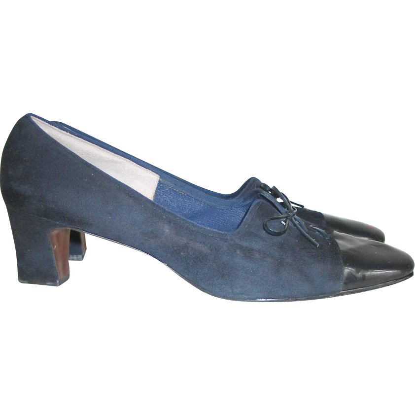 vintage 1960s midnight navy blue suede patent leather two