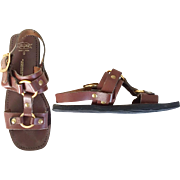 Vintage 1970s Leather Brass Rubber Sole Rajpur Hippie Sandals