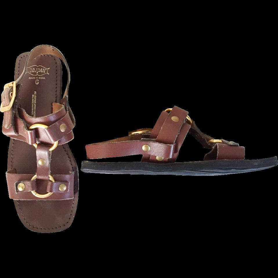 Vintage 1970s Leather Brass Rubber Sole Rajpur Hippie Sandals