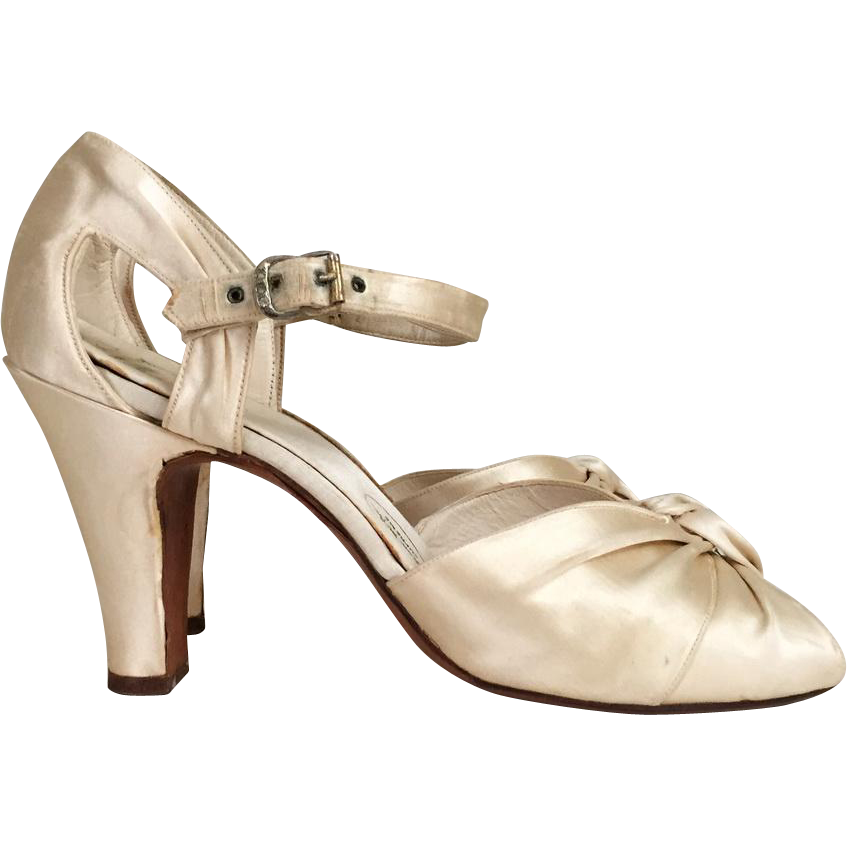 Authentic Vintage 1930s Candlelight Silk d-Orsay Ankle Strap Sarong Twist Rhinestone Buckle Peep Toe Shoes 7N