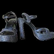 Vintage Formula X Tall Strappy Platform Glitter Shoes Heels Sling Backs Open Toes