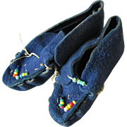 Vintage 1930s Blue Suede Shoes Native American Indian Tiny Beaded Moccasins