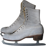Vintage 1950s White Leather Canadian Flyer Silver Brazed Figure Skates