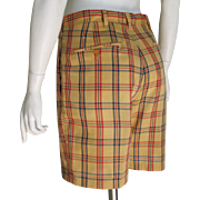 Vintage 1960s Haggar Snug Duds Forever Prest Plaid Shorts Gold Red