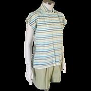 Vintage 1960s Sage Green Cotton Shorts M Spring Summer