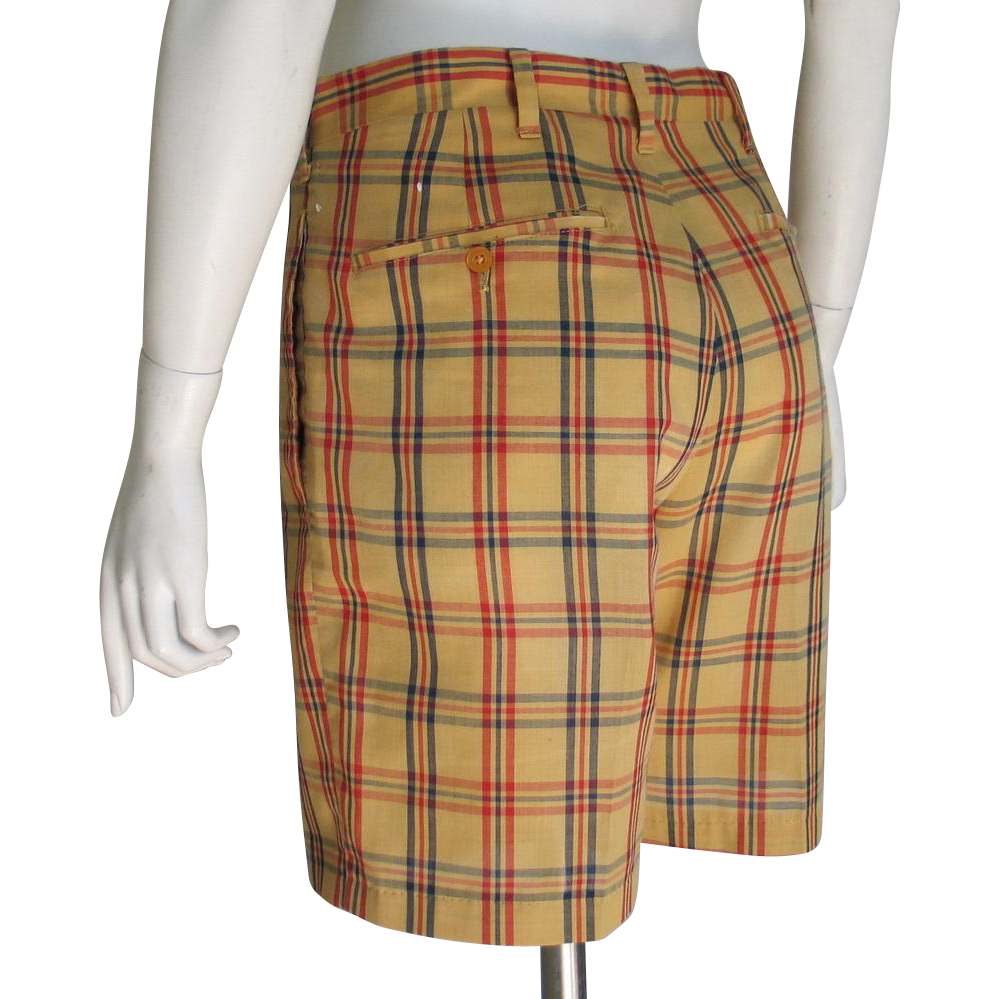Vintage 1960s Haggar Snug Duds Forever Prest Plaid Shorts Gold Red 28w