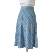 Vintage 1970s Blue Chevron Skirt 26W
