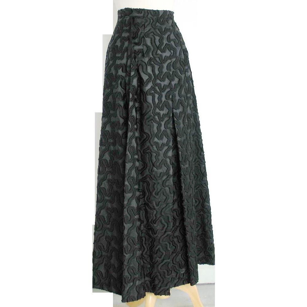 Vintage1960s Malbe Original  Black Novelty Weave Formal Evening Hostess Lounge Skirt XS S