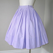Vintage 1960s Light Purple Spring Lilac Cotton Skirt S
