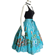 Vintage 1950s Turquoise Circle Skirt with Huge Metallic Hand-painted Flowers