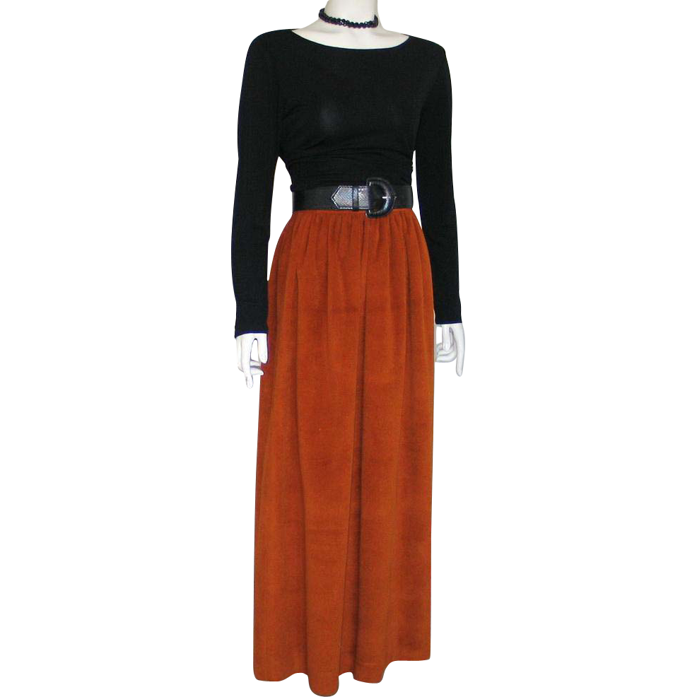 Vintage 1970s Chestnut Rust Brown Soft Plush Maxi Skirt XS