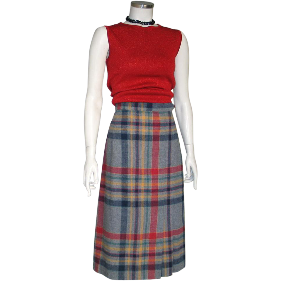 Vintage 1970s Preppy Gray Navy Red Gold Plaid Side Pleated Autumn Winter Skirt M
