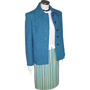 Vintage 1960s Pretty Blue Green Cream Striped Virgin Wool Skirt W25