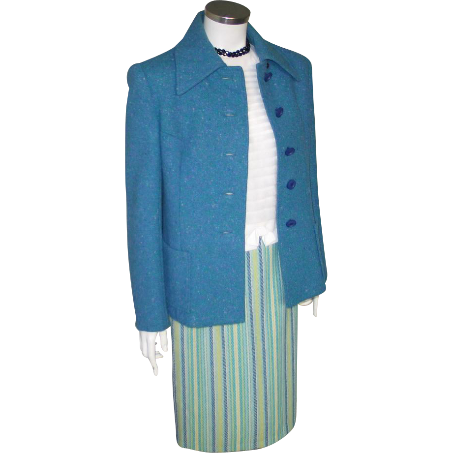 Vintage 1960s Pretty Blue Green Cream Striped Virgin Wool Skirt W25