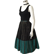 Vintage Ethnic Folk Weave Skirt Black Copper Lurex with Lime and Teal Accents XS S