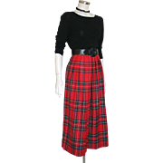 Vintage 1980s Pure Scottish Woven Plaid Wool Pleated Skirt by Land's End S M