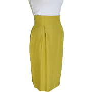 Vintage Late 80s Tahari Silk Chartreuse Fitted Straight Skirt Toreador Waist
